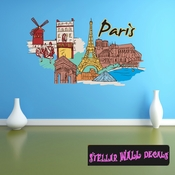 Famous City Paris Wall Decal - Wall Fabric - Repositionable Decal - Vinyl Car Sticker - usc012
