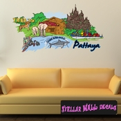 Famous City Pattaya Wall Decal - Wall Fabric - Repositionable Decal - Vinyl Car Sticker - usc029