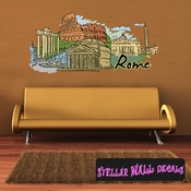 Famous City Rome Wall Decal - Wall Fabric - Repositionable Decal - Vinyl Car Sticker - usc014