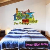 Famous City San Francisco Wall Decal - Wall Fabric - Repositionable Decal - Vinyl Car Sticker - usc040