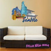 Famous City Seattle Wall Decal - Wall Fabric - Repositionable Decal - Vinyl Car Sticker - usc059
