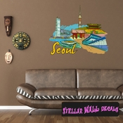 Famous City Seoul Wall Decal - Wall Fabric - Repositionable Decal - Vinyl Car Sticker - usc048