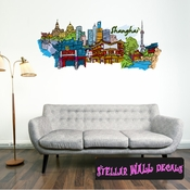 Famous City Shanghai Wall Decal - Wall Fabric - Repositionable Decal - Vinyl Car Sticker - usc022