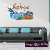 Famous City Sydney Wall Decal - Wall Fabric - Repositionable Decal - Vinyl Car Sticker - usc055