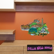 Famous City Taipei Wall Decal - Wall Fabric - Repositionable Decal - Vinyl Car Sticker - usc042