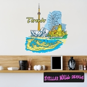 Famous City Toronto Wall Decal - Wall Fabric - Repositionable Decal - Vinyl Car Sticker - usc023