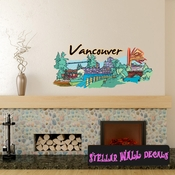 Famous City Vancouver Wall Decal - Wall Fabric - Repositionable Decal - Vinyl Car Sticker - usc039