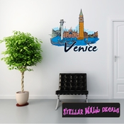 Famous City Venice Wall Decal - Wall Fabric - Repositionable Decal - Vinyl Car Sticker - usc071