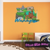 Famous City Washington Wall Decal - Wall Fabric - Repositionable Decal - Vinyl Car Sticker - usc083