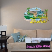 Famous City Zhuhai Wall Decal - Wall Fabric - Repositionable Decal - Vinyl Car Sticker - usc084