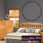 happy anniversary circle text Celebrations Wall Decals - Wall Quotes - Wall Murals WE005HappyAnnVIII SWD