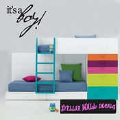 it�s a Boy Baby Shower Plain Text Celebrations Wall Decals - Wall Quotes - Wall Murals CE011ItsaboyVIII SWD