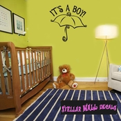 it�s a Boy Baby Shower Umbrella Celebrations Wall Decals - Wall Quotes - Wall Murals CE013ItsaboyVIII SWD
