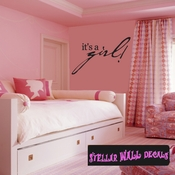 It�s a Girl Baby Shower Celebrations Wall Decals - Wall Quotes - Wall Murals CE001ItsagirlVIII SWD