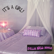 it�s a Girl Baby Shower Simple Text Celebrations Wall Decals - Wall Quotes - Wall Murals CE004ItsagirlVIII SWD