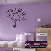 it�s a Girl Baby Shower Text Umbrella Rain Celebrations Wall Decals - Wall Quotes - Wall Murals CE003ItsagirlVIII SWD
