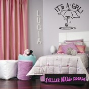 it�s a Girl Baby Shower Umbrella Rain Text Celebrations Wall Decals - Wall Quotes - Wall Murals CE005ItsagirlVIII SWD
