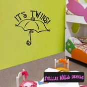 Its Twins Umbrella Baby Shower Celebrations Wall Decals - Wall Quotes - Wall Murals CE015ItstwinsVIII SWD