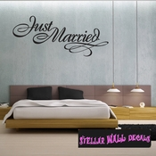 just married marriage wedding Celebrations Wall Decals - Wall Quotes - Wall Murals WE001JustmarriedVIII SWD