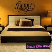 just married marriage wedding Celebrations Wall Decals - Wall Quotes - Wall Murals WE004JustmarriedVIII SWD