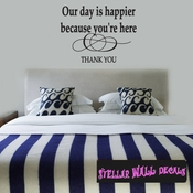 Our day is happier because you're here text thank you Celebrations Wall Decals - Wall Quotes - Wall Murals WE007ThankVIII SWD