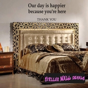 our day is happier because you're here thank you Celebrations Wall Decals - Wall Quotes - Wall Murals WE011ThankVIII SWD