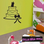 Wedding Cake Ribbons Bows Bride And Groom Celebrations Wall Decals - Wall Quotes - Wall Murals CAKE4VIII SWD