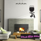 wine glasses wine drinking ribbons Celebrations Wall Decals - Wall Quotes - Wall Murals WINEGLASS2VIII SWD