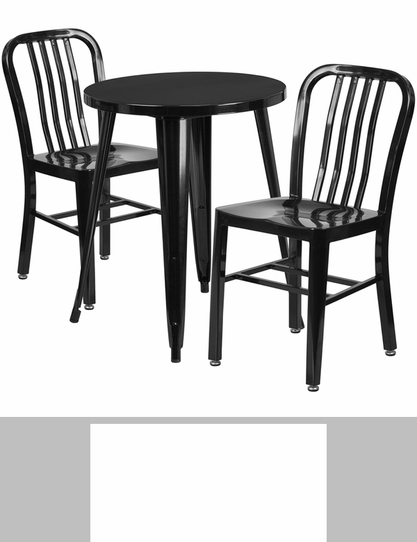 24 39 39 round black metal indoor outdoor bar table set with 2 for Html vertical table