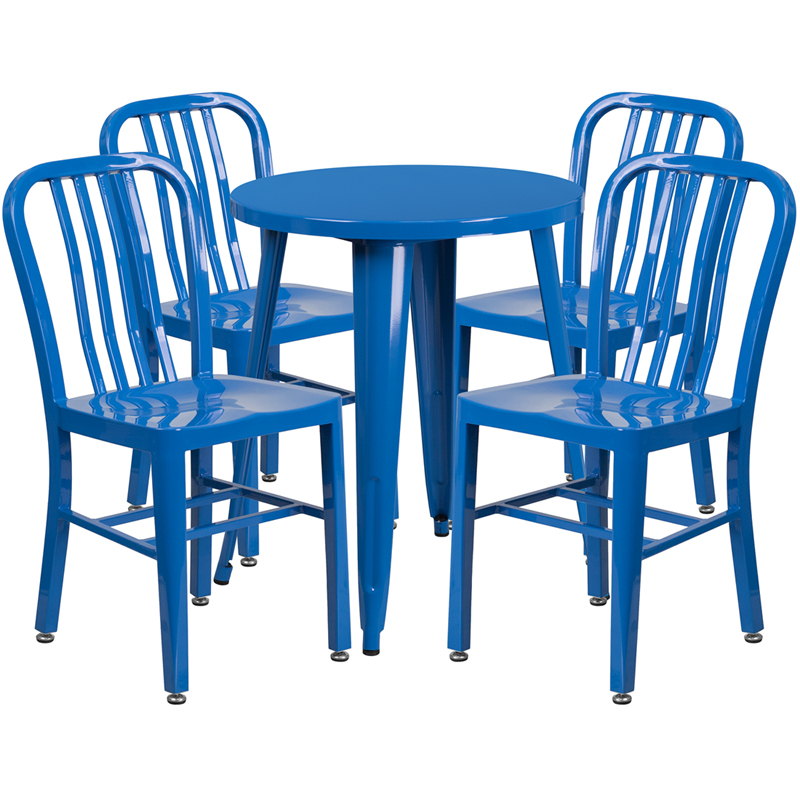 24 39 39 round blue metal indoor outdoor table set with 4 for Html vertical table