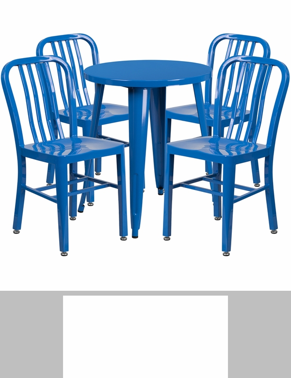 24 round blue metal indoor outdoor bar table set with 4