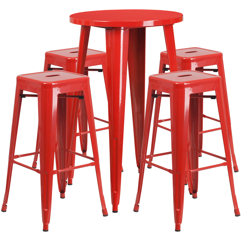 24'' Round Red Metal Indoor-Outdoor Bar Table Set With 4