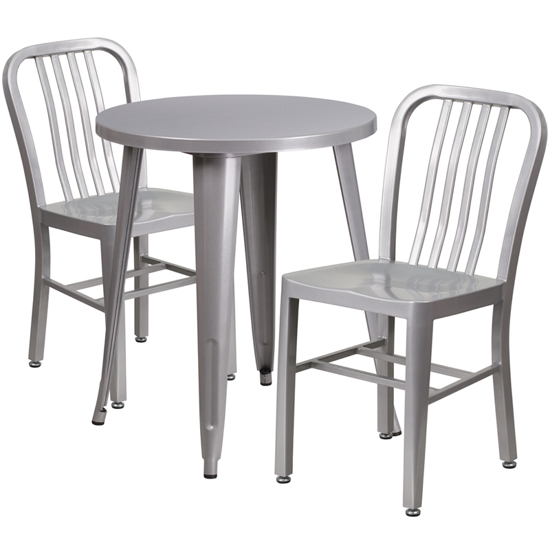 24 39 39 round silver metal indoor outdoor table set with 2 for Html vertical table