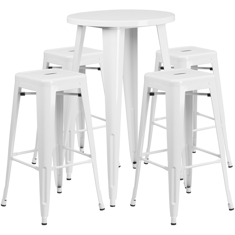 24 39 39 Round White Metal Indoor Outdoor Bar Table Set With 4