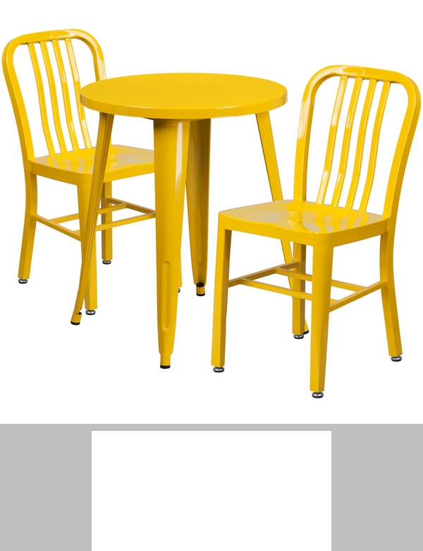 24 39 39 round yellow metal indoor outdoor table set with 2 for Html vertical table