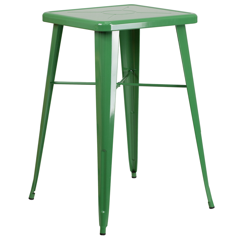 23.75u0027u0027 Square Green Metal Indoor-Outdoor Bar Table Set with 2 Stools with Backs ...  sc 1 st  Church Chairs & Square Green Metal Indoor-Outdoor Bar Table Set with 2 Stools with ... islam-shia.org