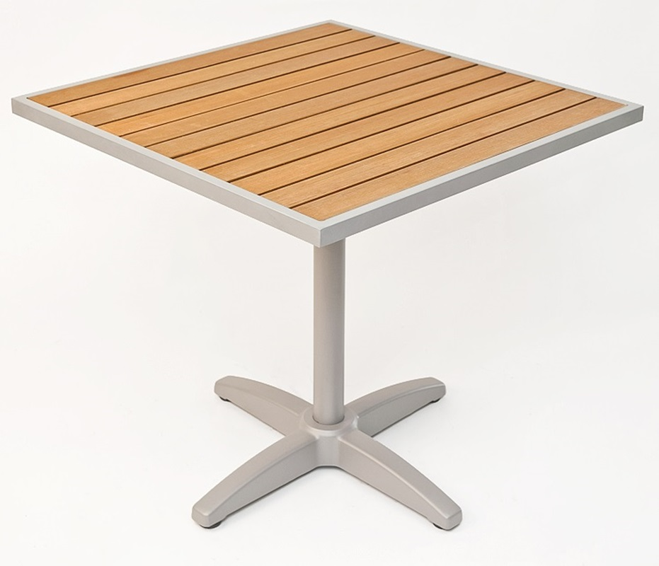 24u0027u0027 Square Synthetic Teak Outdoor Table Top With Silver Base [TA PT 24X24  AL 1805 FLS]