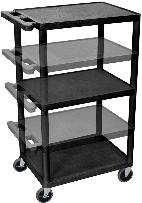 3 shelf height adjustable mobile a v utility cart with 3 for Furniture 4 less outlet