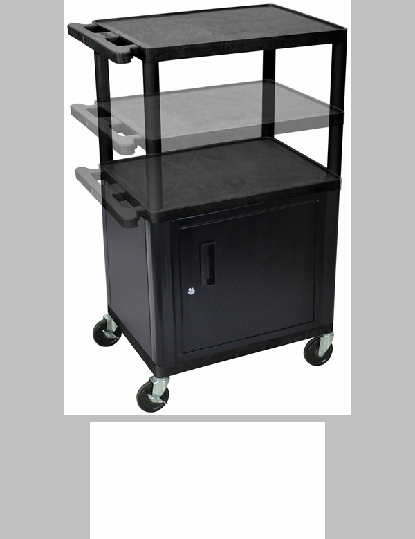 Furniture 4 Less Outlet Of 3 Shelf Height Adjustable Mobile A V Utility Cart With