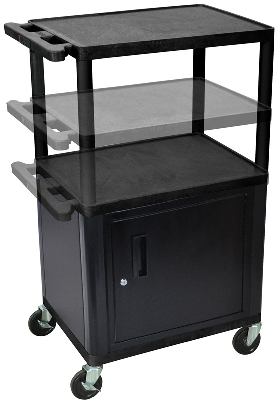 3 shelf height adjustable mobile a v utility cart with for Furniture 4 less outlet