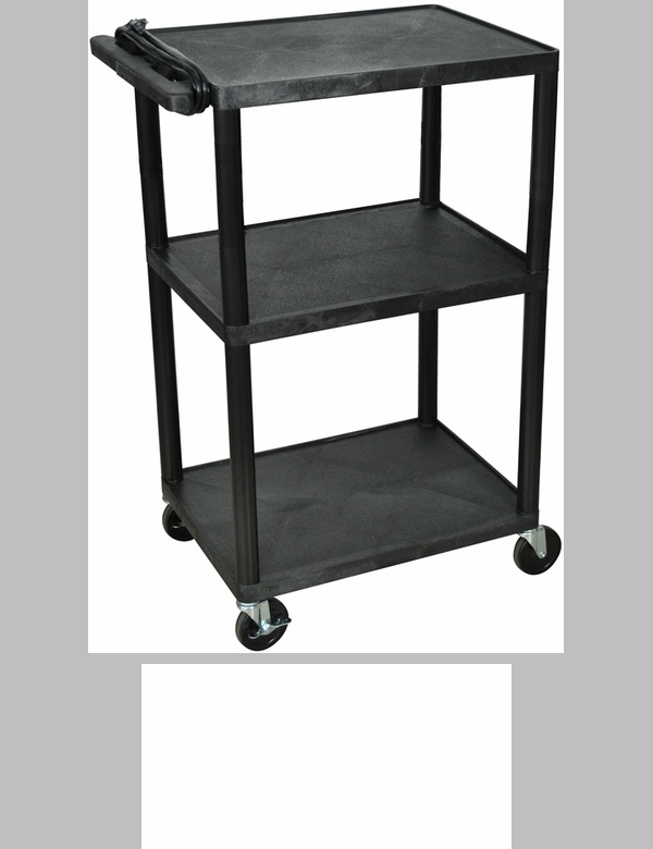 3 shelf a v utility cart with locking cabinet front for Furniture 4 less outlet