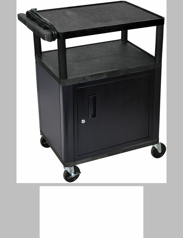 2 shelf high open a v utility cart with locking cabinet for Furniture 4 less outlet