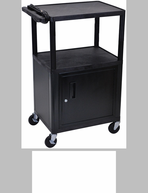 Furniture 4 Less Outlet Of 3 Shelf High Open A V Utility Cart With Locking Cabinet