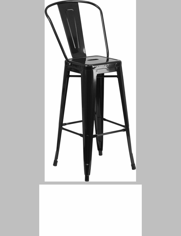 30 High Black Metal Indoor Outdoor Barstool With Back