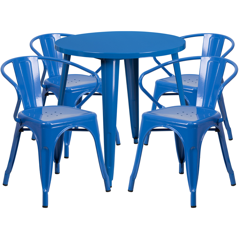30 Round Blue Metal Indoor Outdoor Table Set with 4 Arm  : 30 round blue metal indoor outdoor table set with 4 arm chairs ch 51090th 4 18arm bl gg 1 from www.churchchairs4less.com size 800 x 800 jpeg 287kB