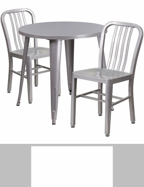 30 39 39 round silver metal indoor outdoor table set with 2 for Html vertical table