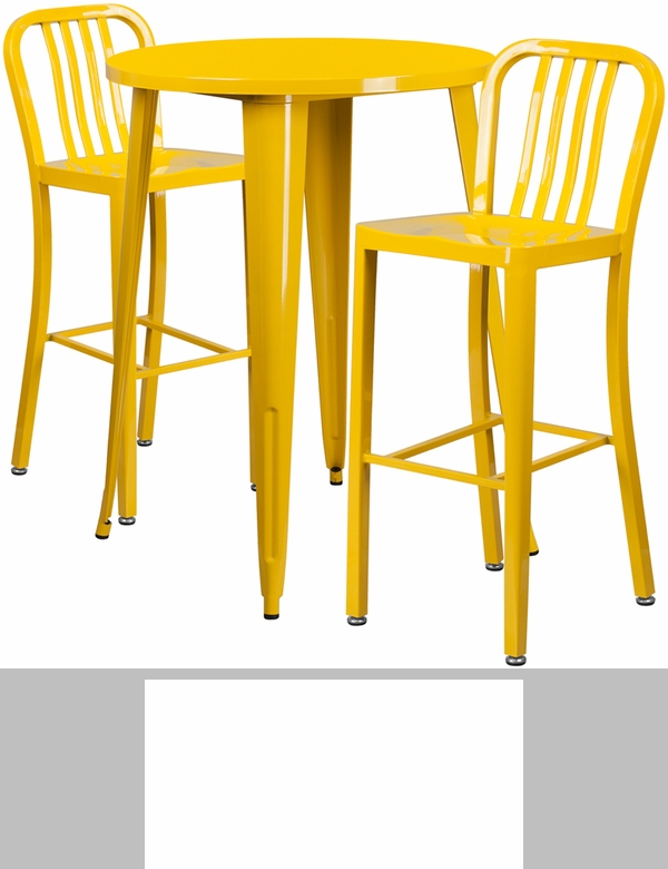 30 39 39 round yellow metal indoor outdoor table set with 2 for Html vertical table