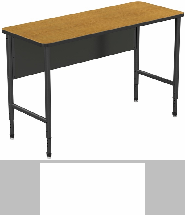 apex series height adjustable stand up desk with pvc edge solar oak top with black edge and legs x x
