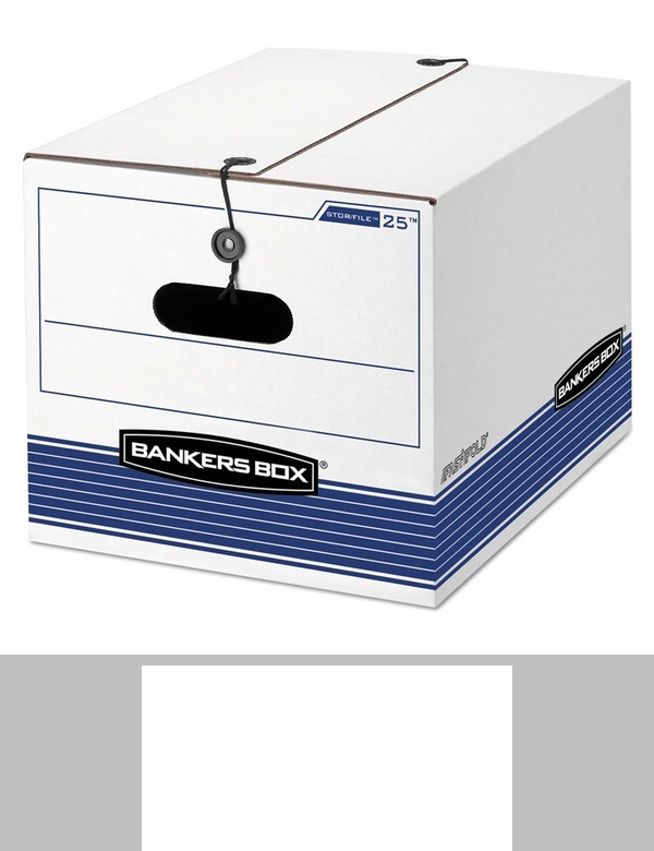 bankers box storfile storage box legalletter tie closure whiteblue 4carton