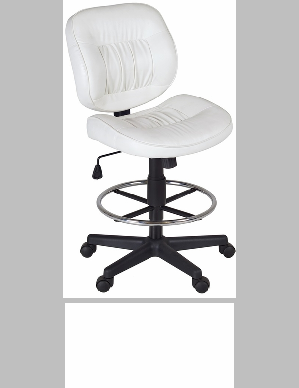 Cirrus Height Adjustable Armless Task Stool with Footrest White